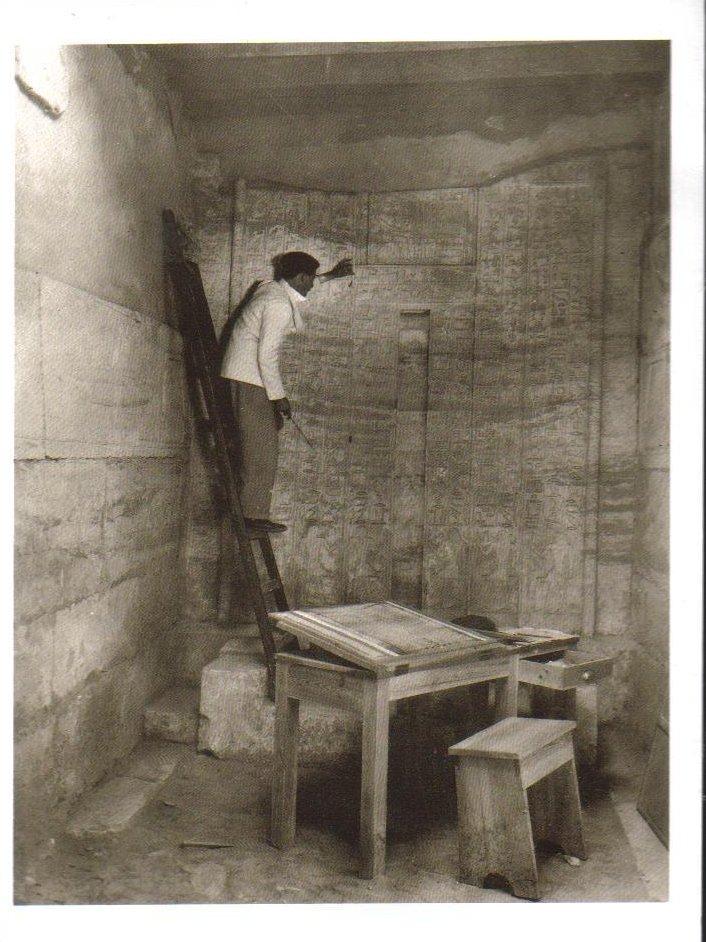 Copying inscriptions on False Door at Mastaba Tomb of Mereruka Postcard