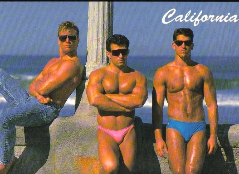 Great Physiques Hot Guys in California Postcard
