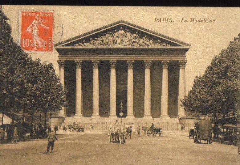 La Madeleine Greek Temple in Paris France 1910 Antique Postcard