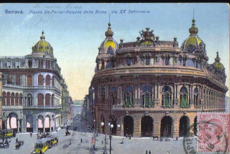 Genova Piazza De Ferrari Palazzo della Borsa Antique Postcard