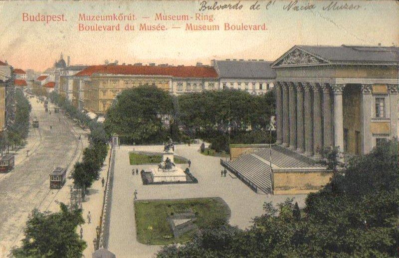 Museum Boulevard Budapest Hungary Antique Postcard 1912