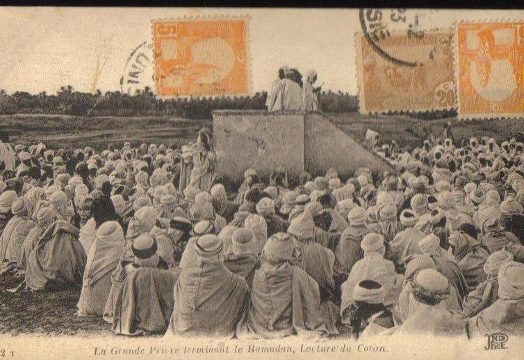 Great Pruritus ended Ramadan Tunisian Antique Postcard