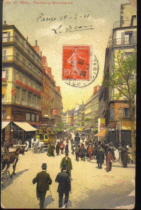 Fauberg Montmartre Paris France Antique Postcard 1911