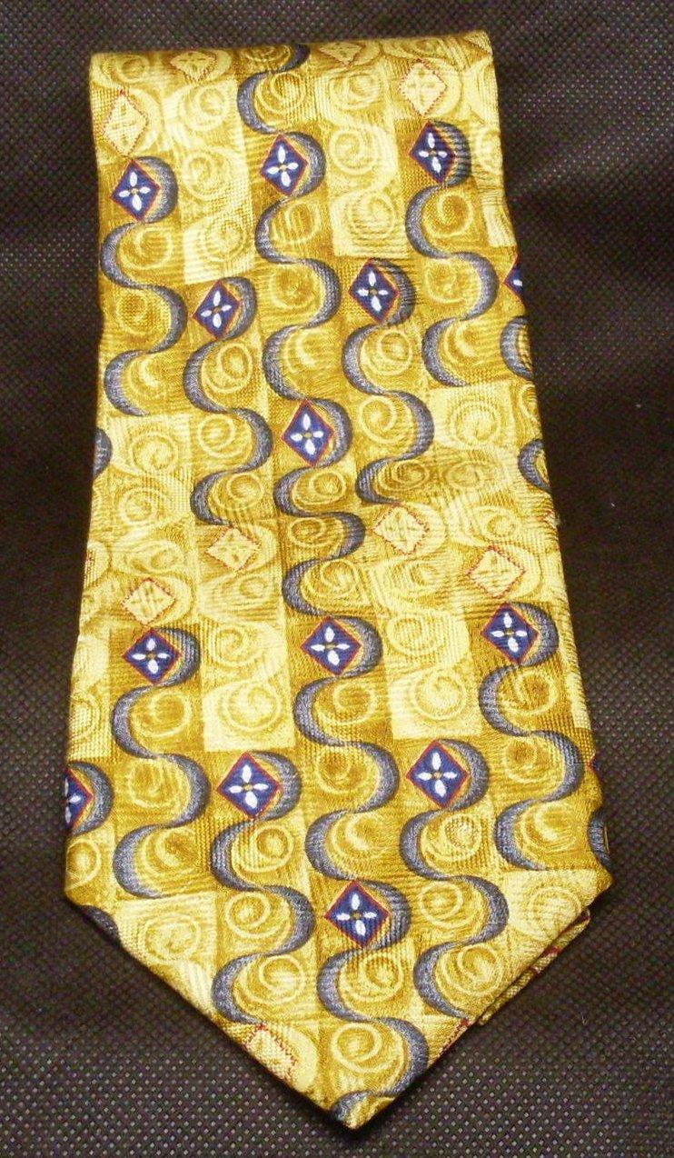 Image 1 of J.Z. Richards Mens Silk Tie Necktie Gold Blue Black
