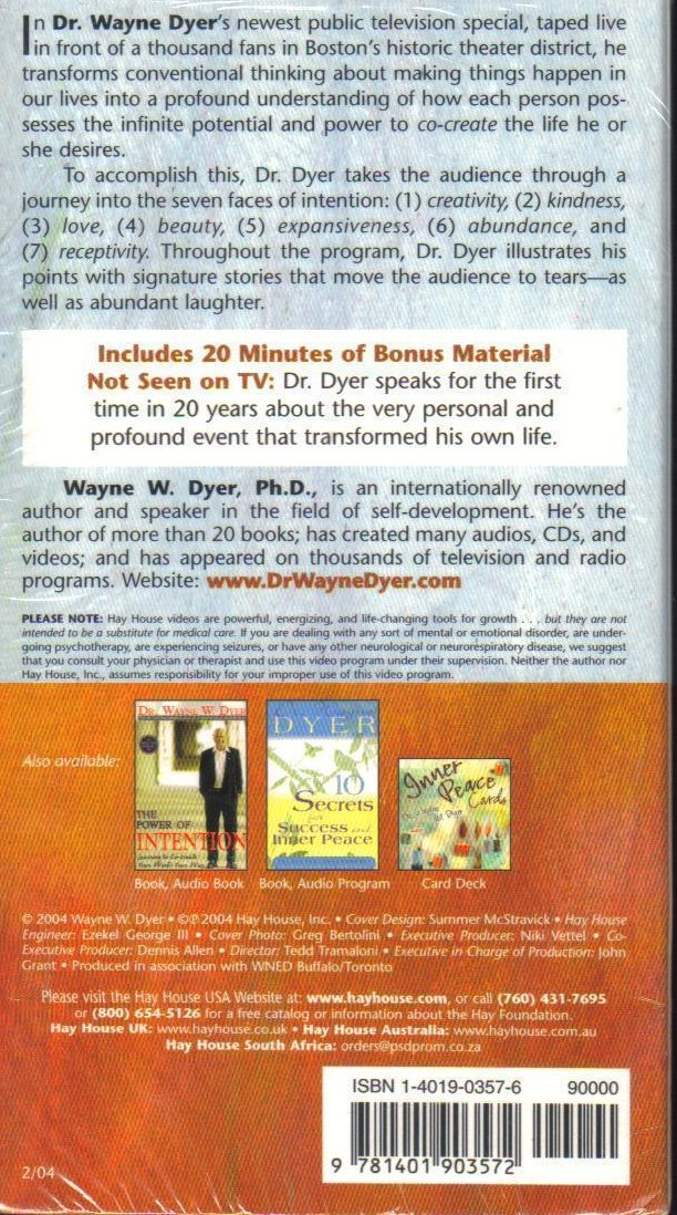 The Power of Intention, Live Lecture VHS  Dr. Wayne Dyer