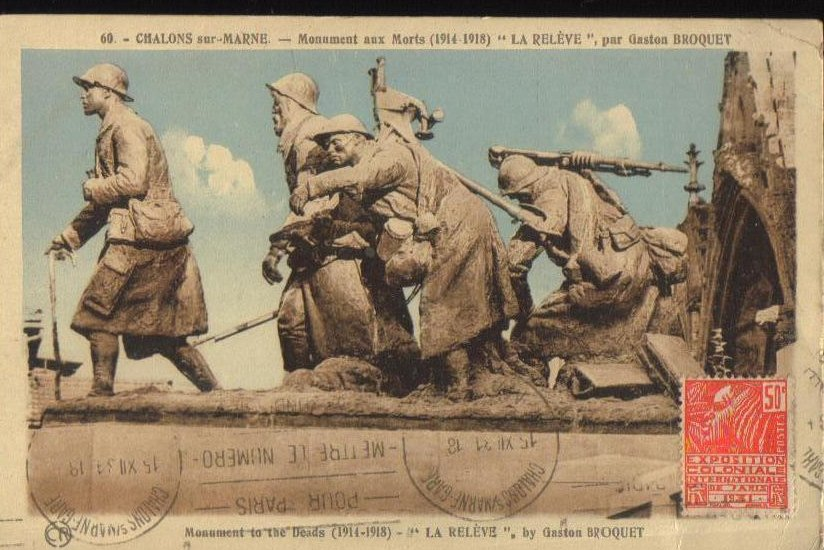 Monument to the Dead Antique French Postcard 1927