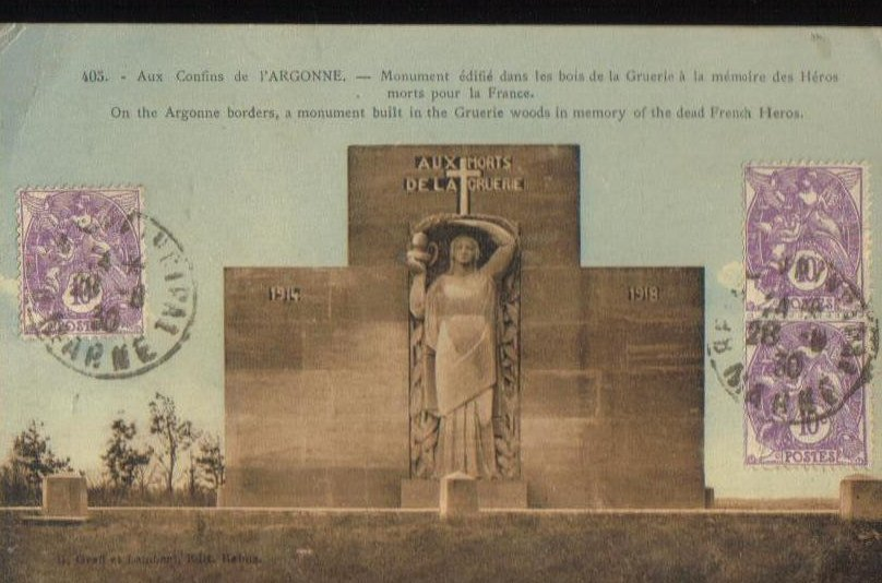 Monument to French Heroes Argonne France Postcard 1930