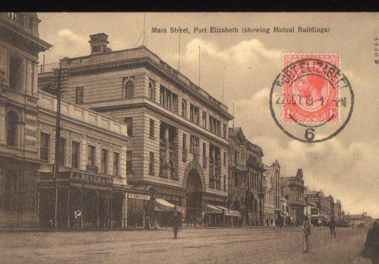 Main Street Port Elizabeth South Africa Postcard 1919