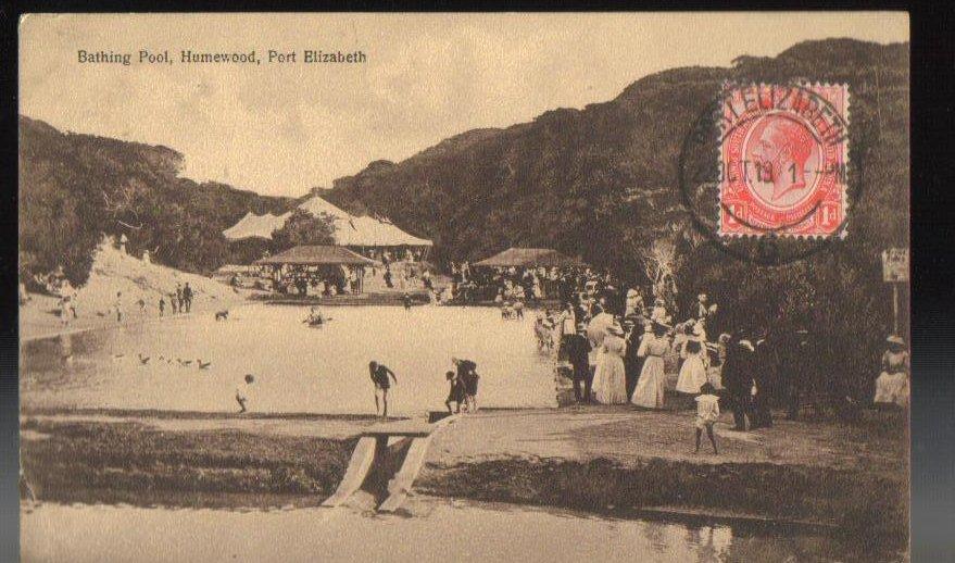 Bathing Pool Port Elizabeth South Africa Postcard 1919