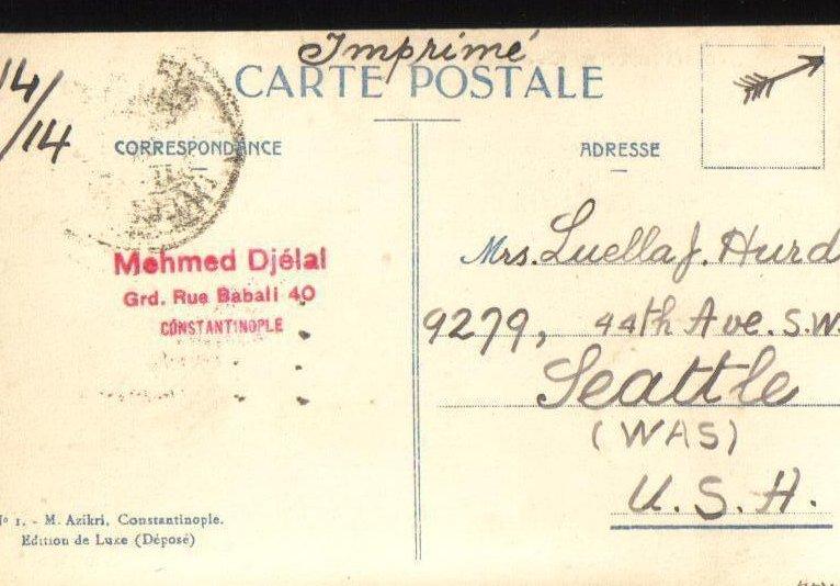 Image 1 of Constantinople Pera et Galata Turkish Postcard 1929