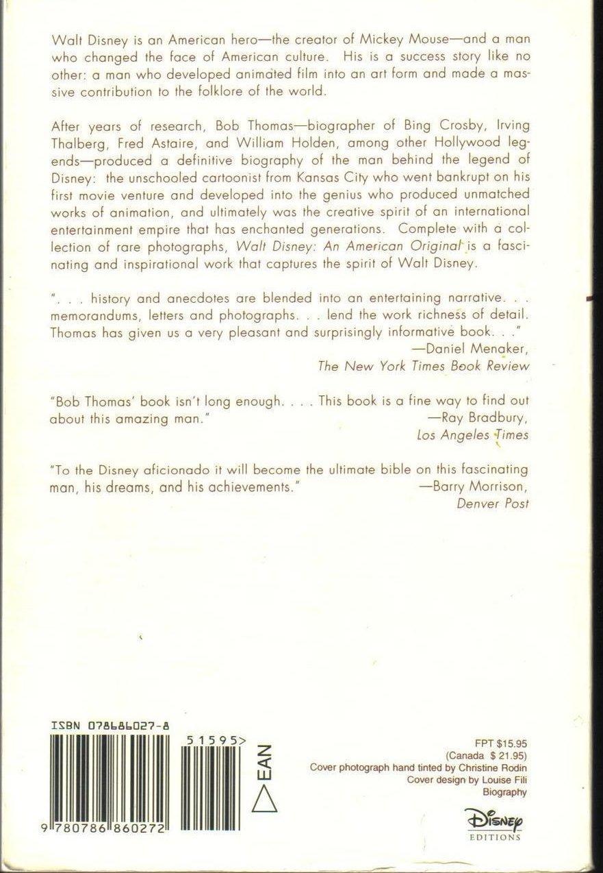 Image 1 of Walt Disney: An American Original Biography by Bob Thomas