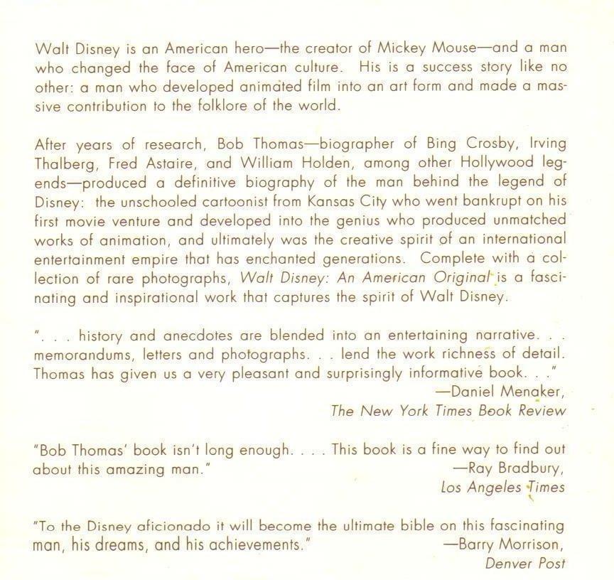 Image 2 of Walt Disney: An American Original Biography by Bob Thomas
