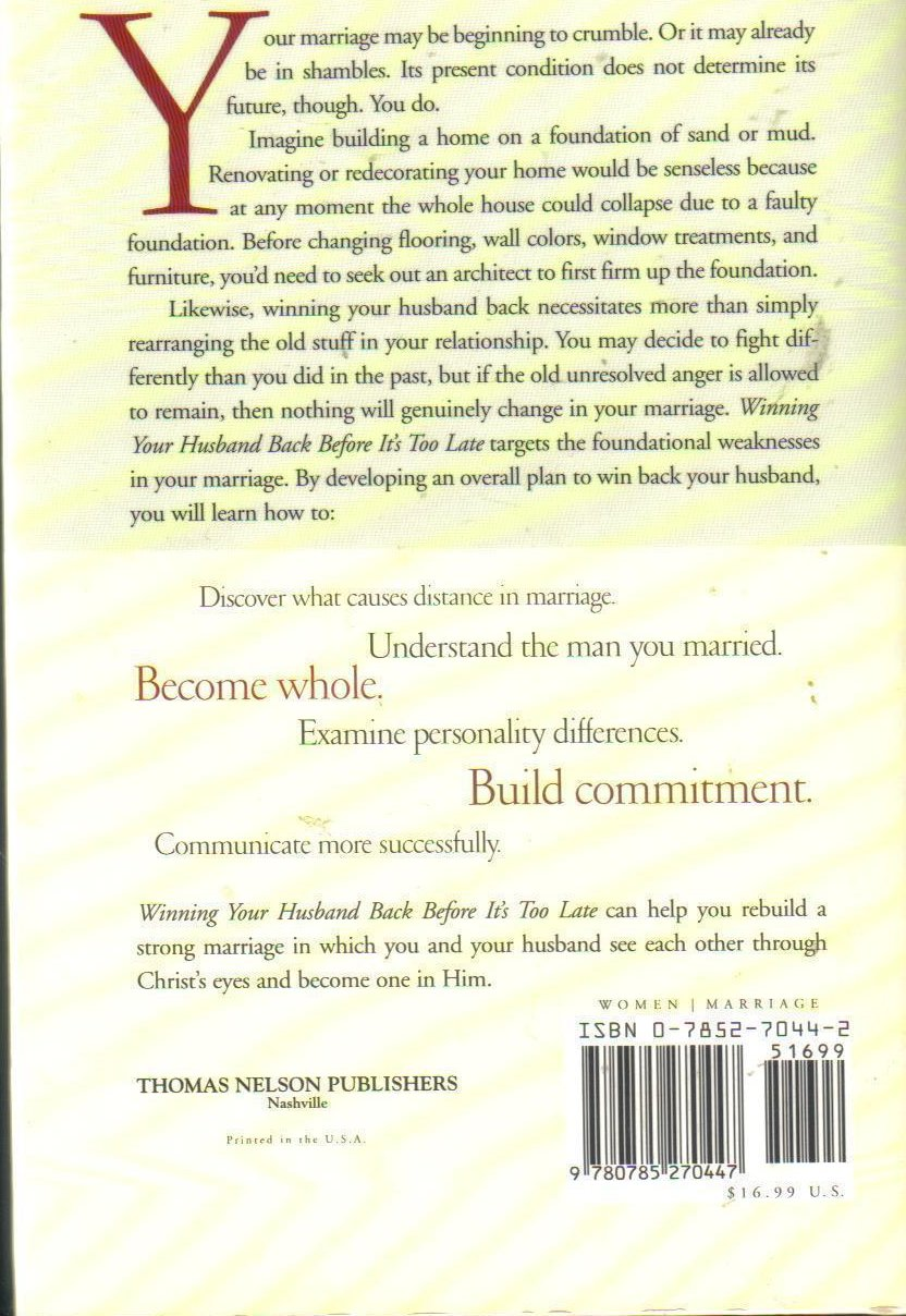 Image 1 of Winning Your Husband Back Before It's Too Late G. Smalley HCDJ