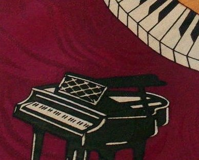 Piano Enigma Handmade Mens Silk Tie Burgundy Musician Novelty