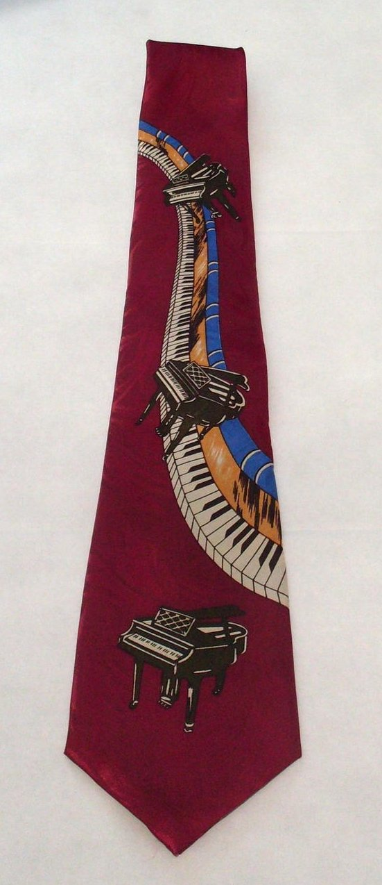 Image 1 of Piano Enigma Handmade Mens Silk Tie Burgundy Musician Novelty