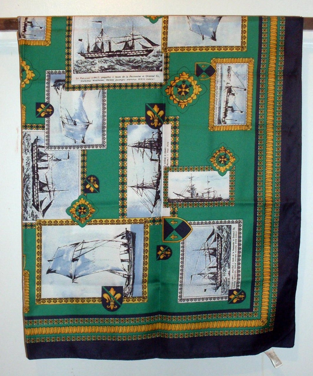 Symphony Tall Ships Silk Scarf Green Blue Gold 34 inch