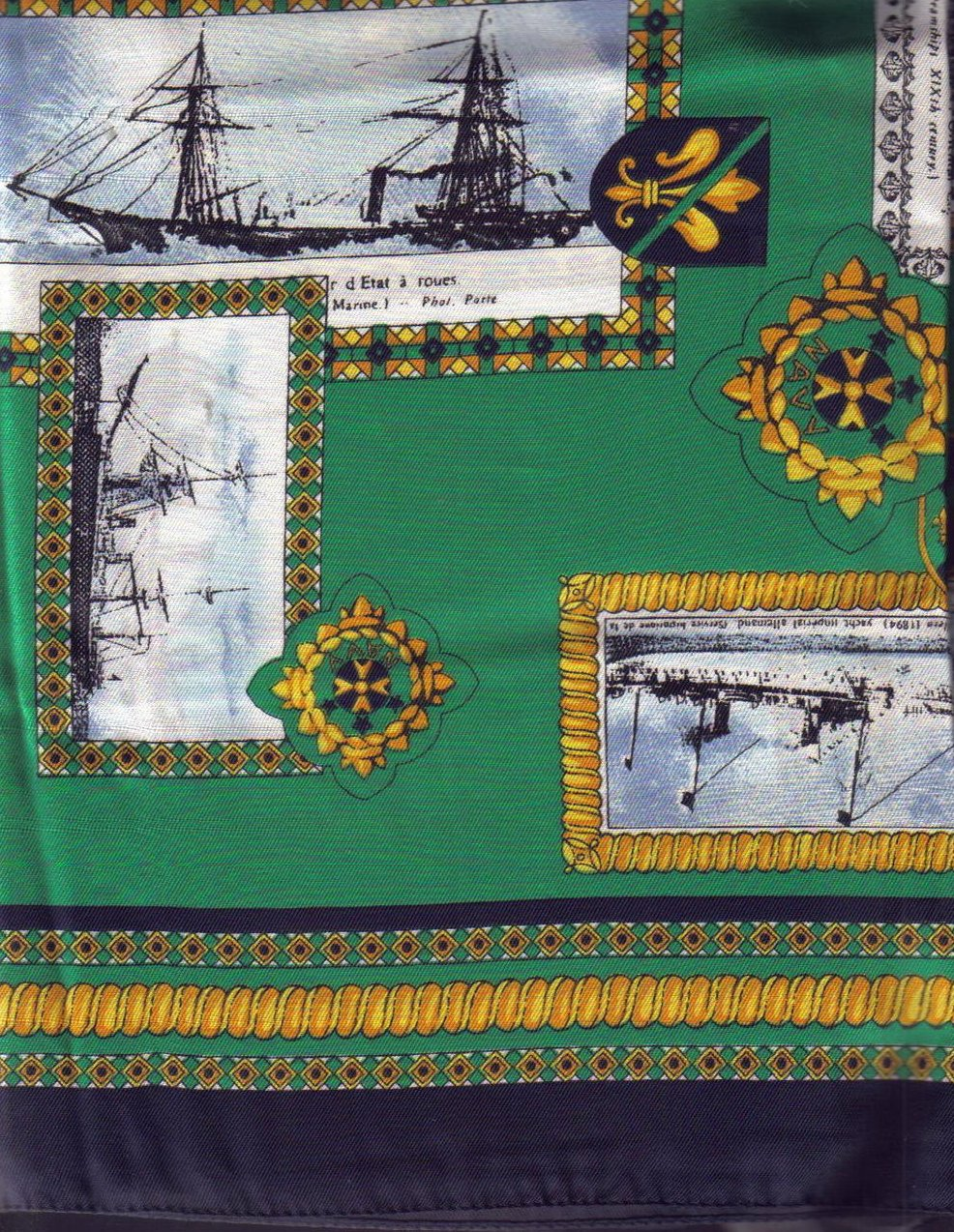 Image 1 of Symphony Tall Ships Silk Scarf Green Blue Gold 34 inch