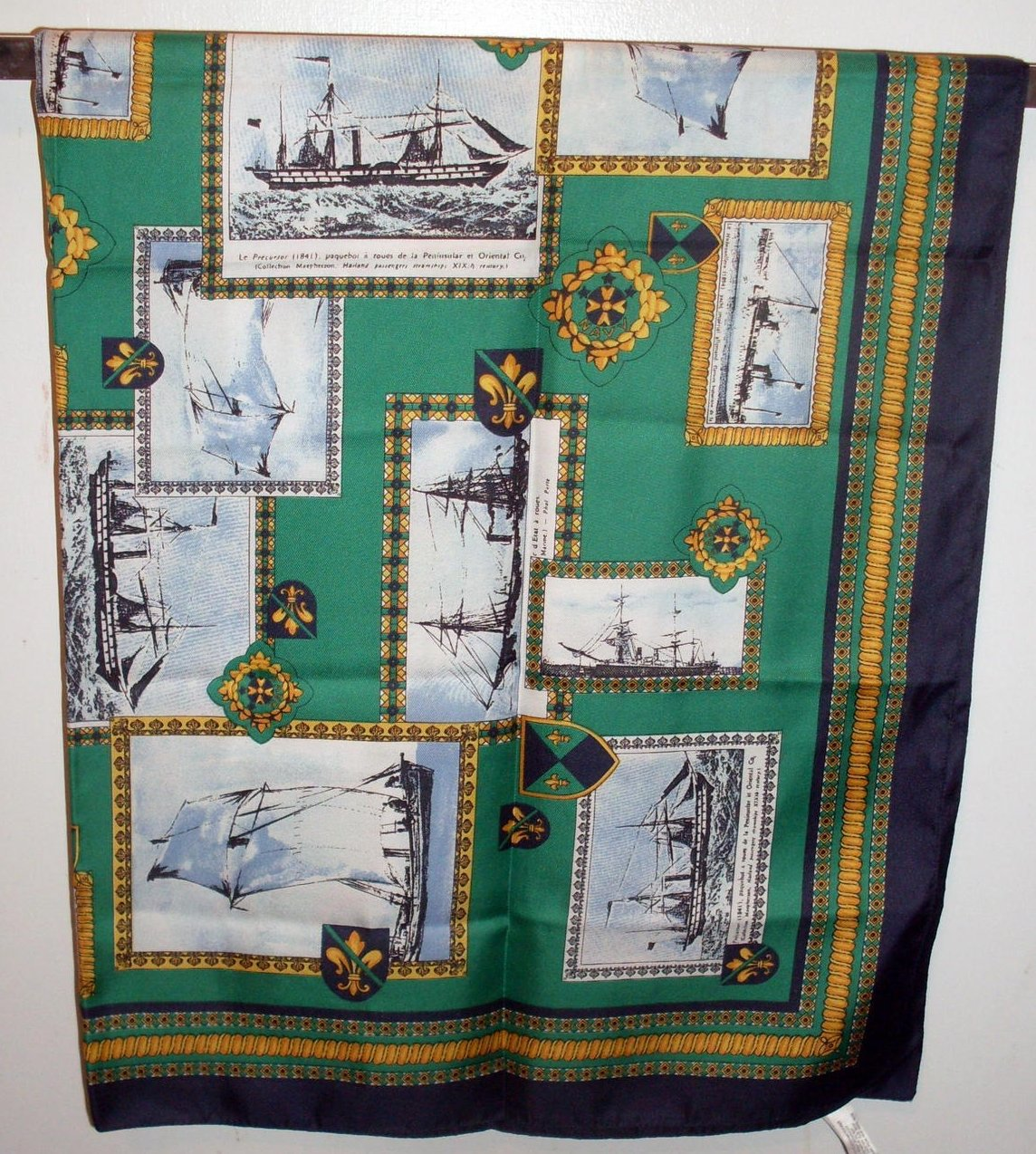 Image 2 of Symphony Tall Ships Silk Scarf Green Blue Gold 34 inch