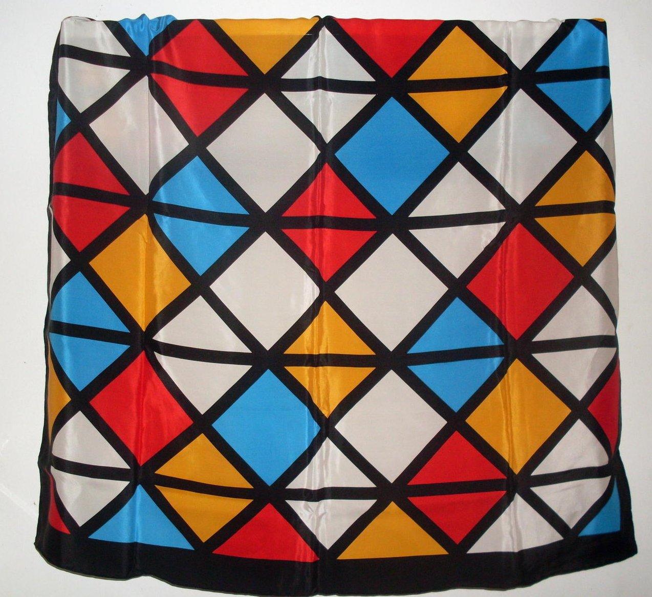 Echo Geometric Print Silk Scarf Black White Blue 35 Inch