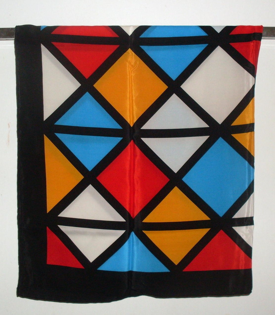 Image 1 of Echo Geometric Print Silk Scarf Black White Blue 35 Inch