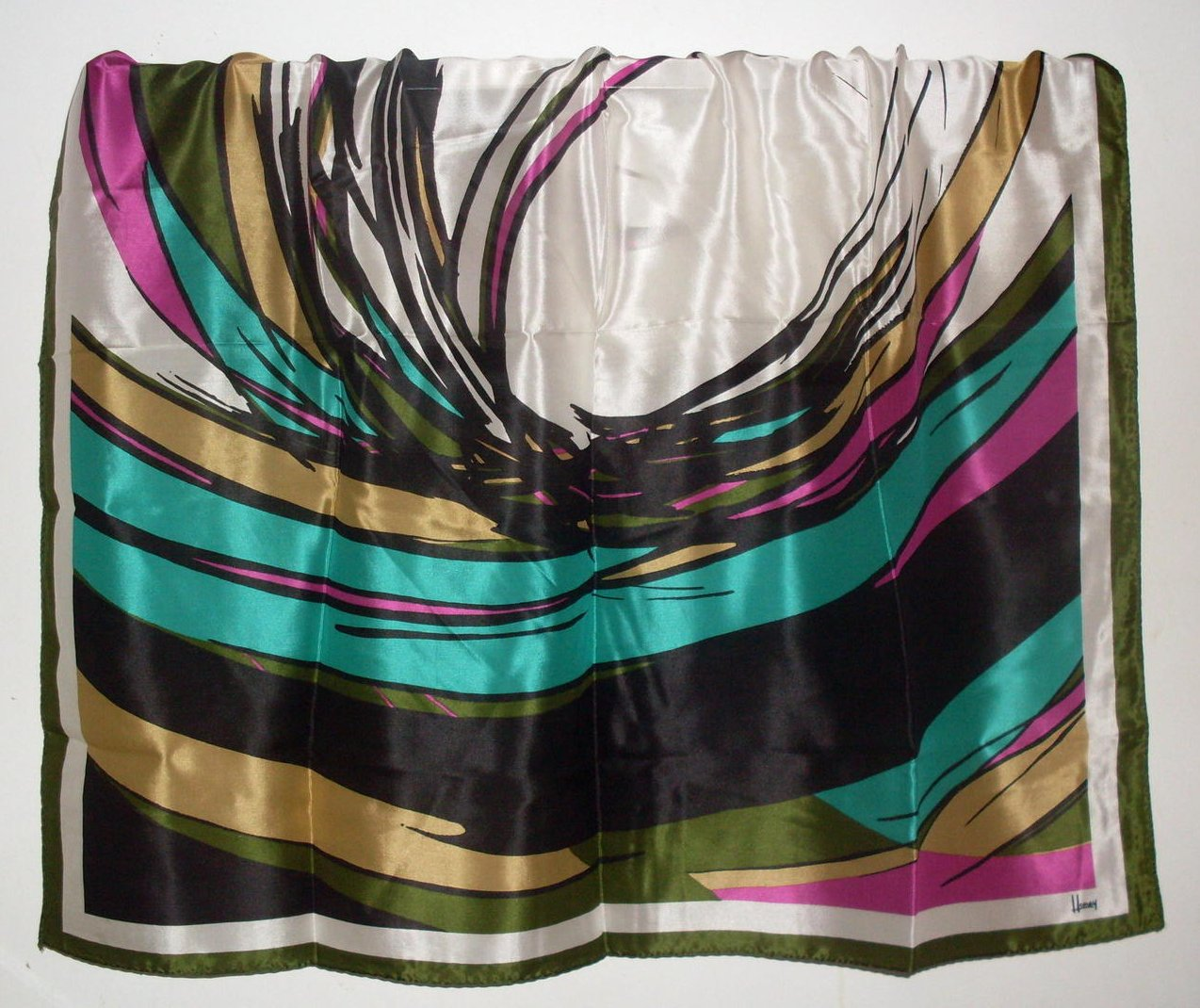 Image 0 of Scarf by Honey Dramatic Print Silk Black White Pink 32 Inch