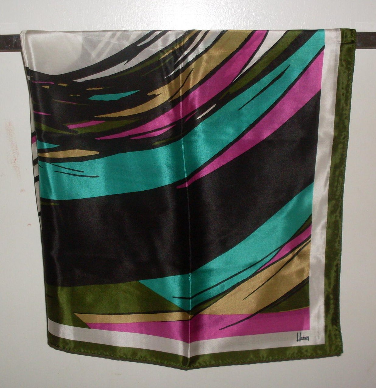 Image 1 of Scarf by Honey Dramatic Print Silk Black White Pink 32 Inch