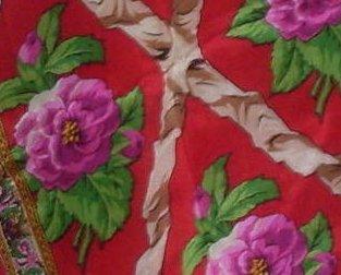 '.Peony Silk Scarf Red Pink.'