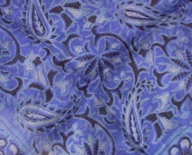 Paisley Print Silk Scarf Purple Black Hand Woven Vintage Oos