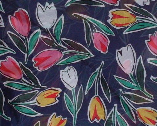 '.7 Tulips Cotton Scarf Navy.'