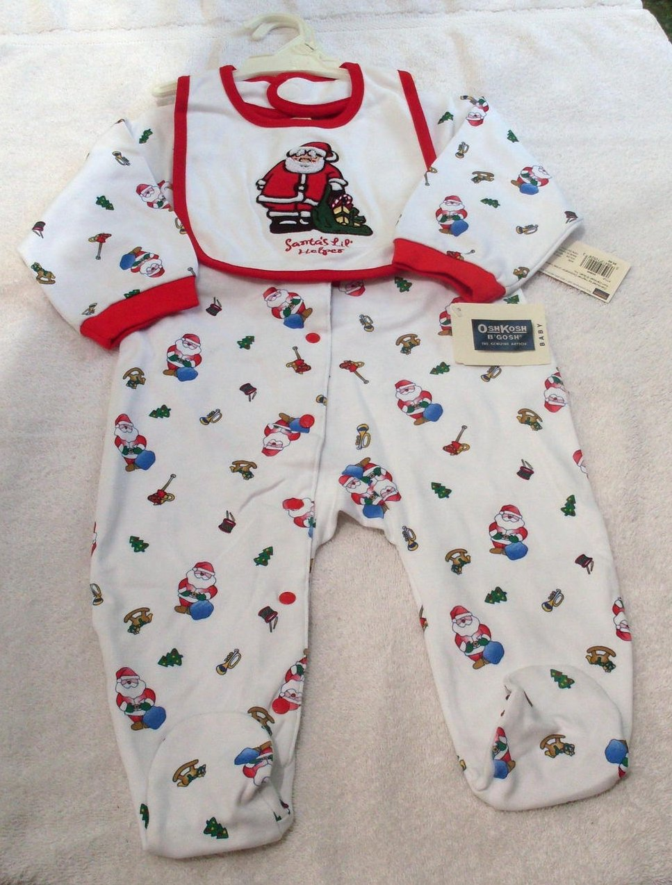 Osh Kosh B'Gosh Infant Footed Sleeper Santa Print Bib 2 pc set