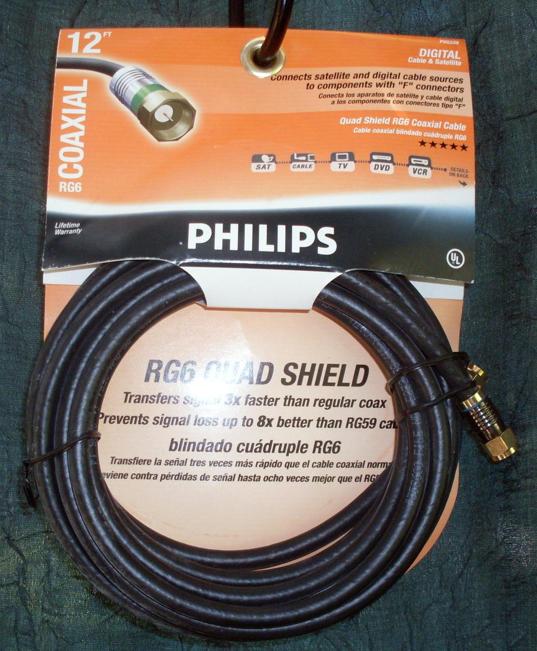 Coaxial Cable Philips PH5204 12 feet Quad Shield RG6 NIP