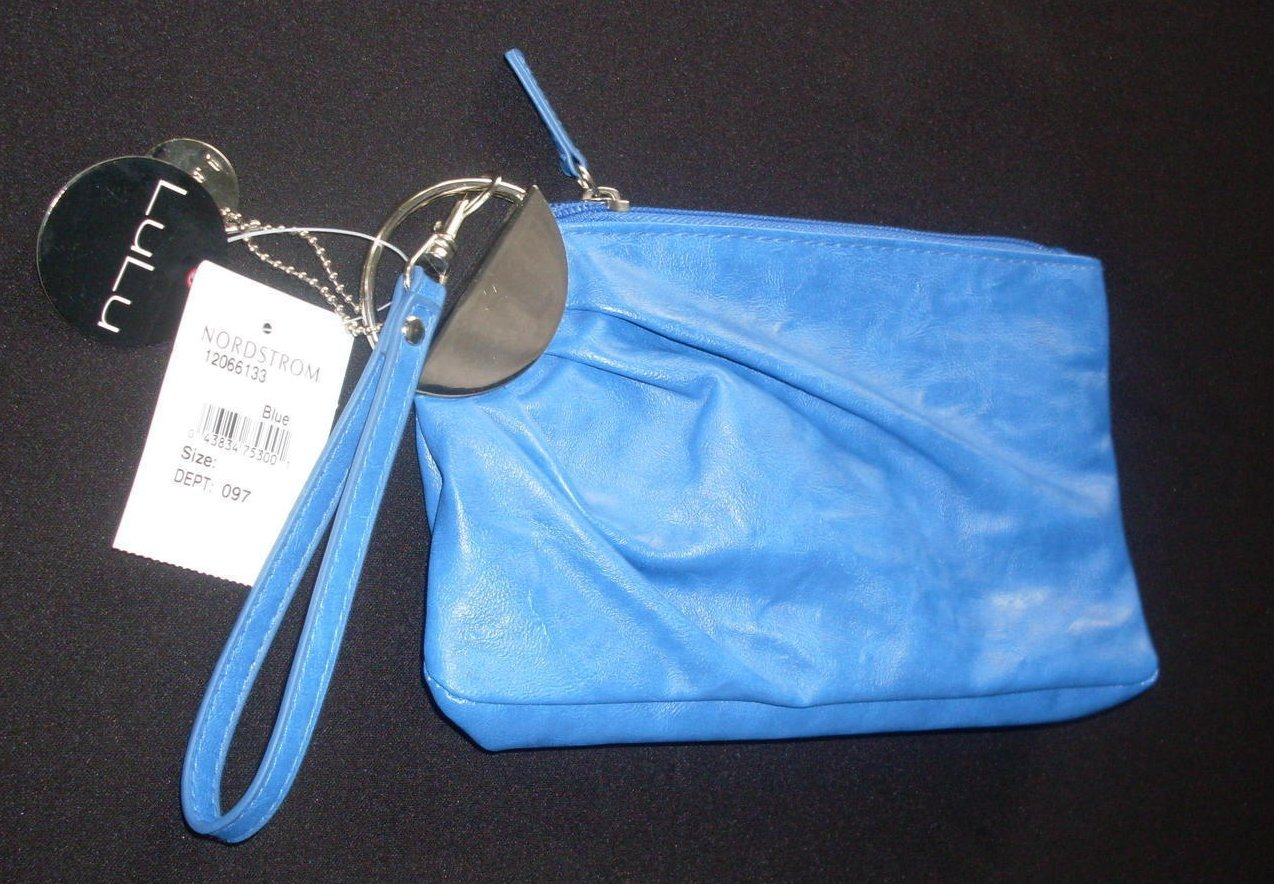 Clutch Bag Blue Lulu Rouched Leather Mini Handbag Purse Blue