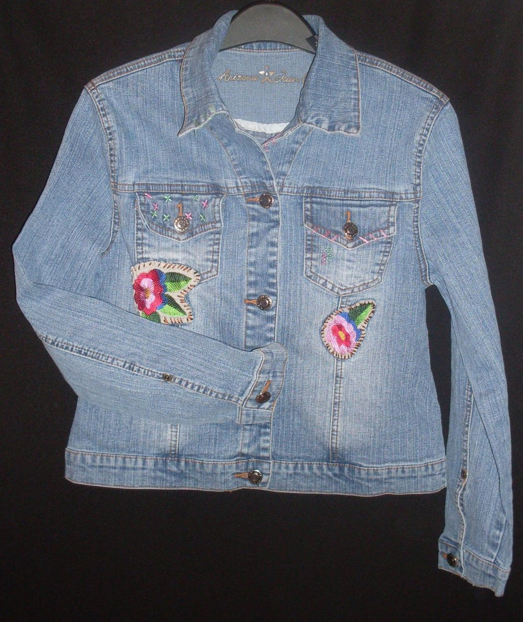 Girls Jean Jacket patches embroidered Large 14 Arizona