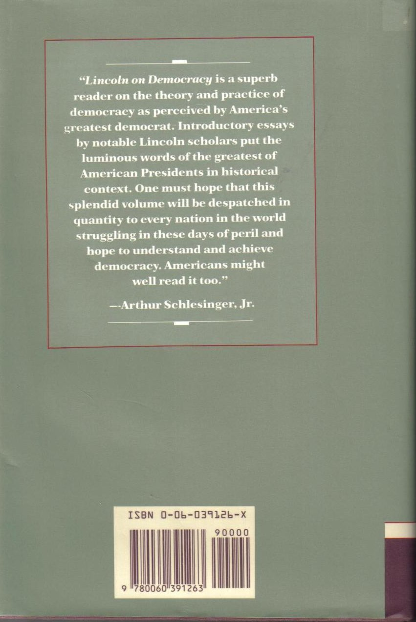 Image 1 of Lincoln on Democracy Abraham Lincoln 1st Ed Cuomo Holzer