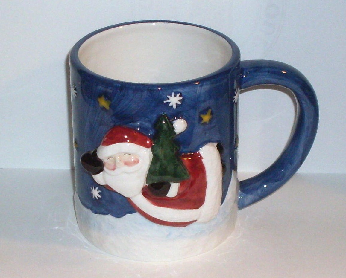 Make the Season Bright Santa Coffee Mug Cup Blue