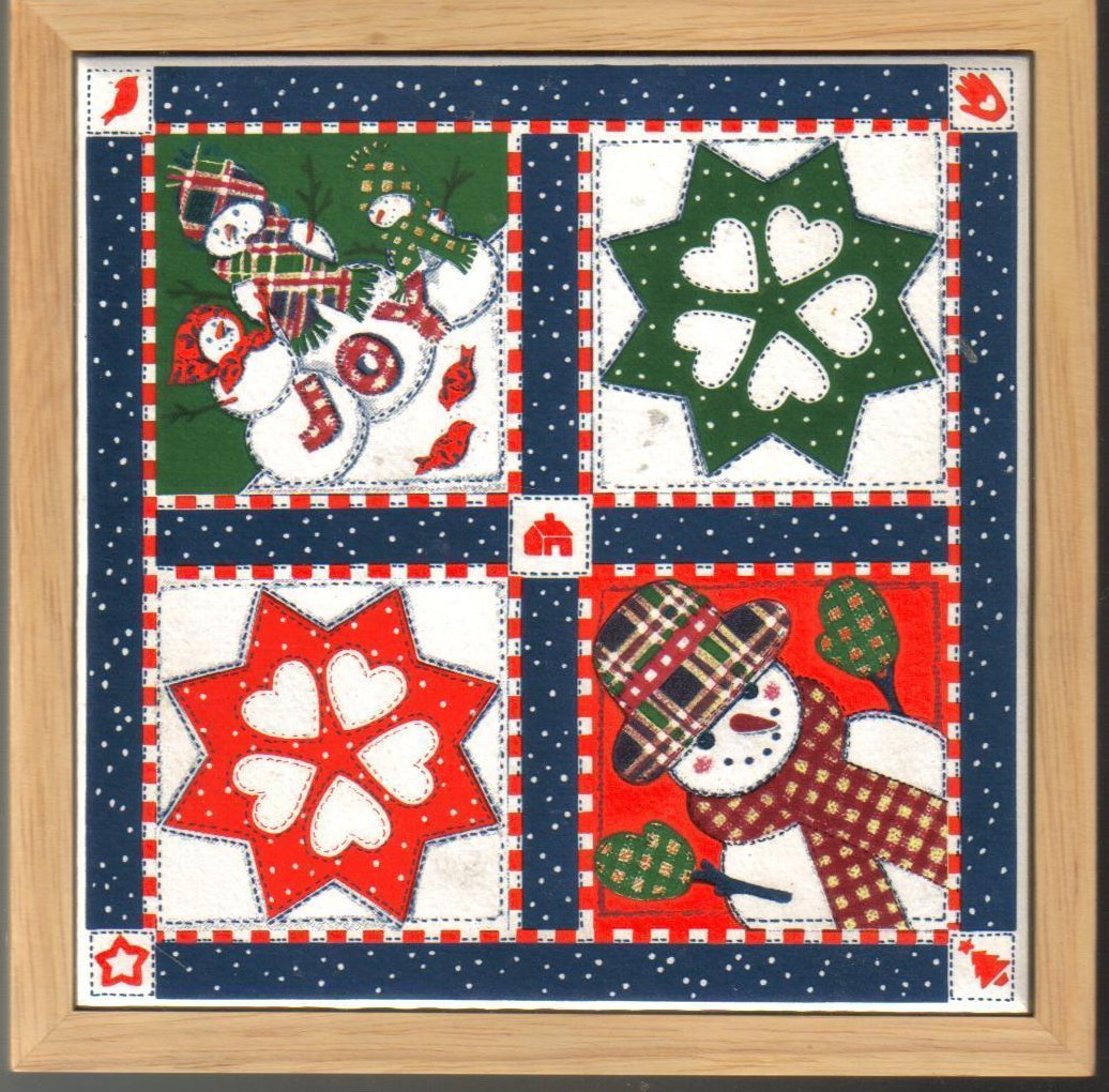 Holiday Ceramic Tile Trivet Snowman Quilt Pattern