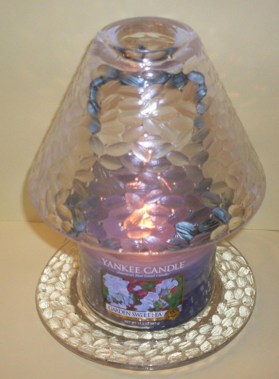 Clear Teardrop Candle Shade And Plate Set By Yankee Candle