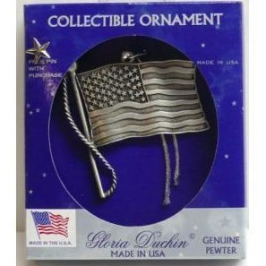 Gloria Duchin Genuine Pewter American Flag Ornament