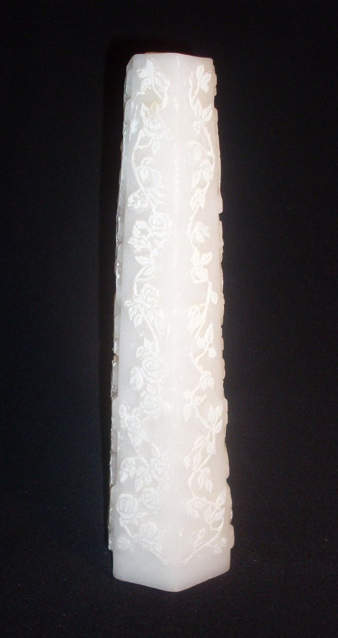 Image 1 of Centerpiece Wedding Pillar Candle Carved Roses 12 inches