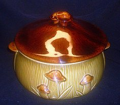 Vintage Mushrooms Covered Serving Bowl Tureen Dish Casserole Soup
