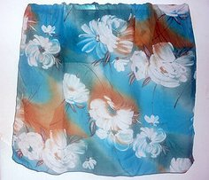 Vintage Floral Scarf Blue Turquoise White Brown Lg 35 X 36