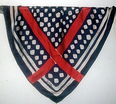Image 1 of Echo Print Scarf Red White Blue Silk 27 X 27