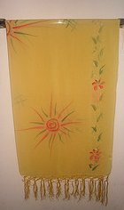 Image 0 of Mexican Sunburst Print Scarf Wrap Sarong Yellow Sheer Gauze