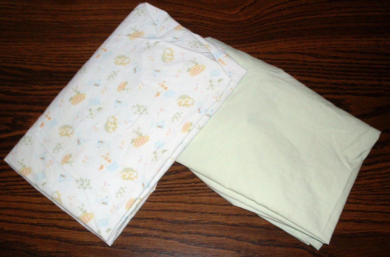 Crib sheets lot of 2 boy or girl  27 X 35 for Bassinet or Porta-crib