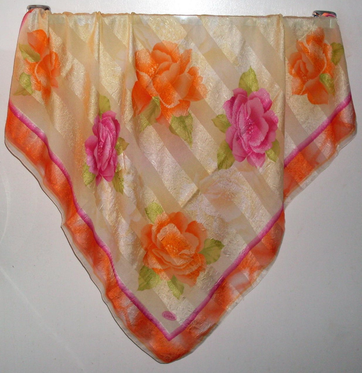 Eripek Turkish Floral Scarf Orange Yellow Pink Silk 37 X 37
