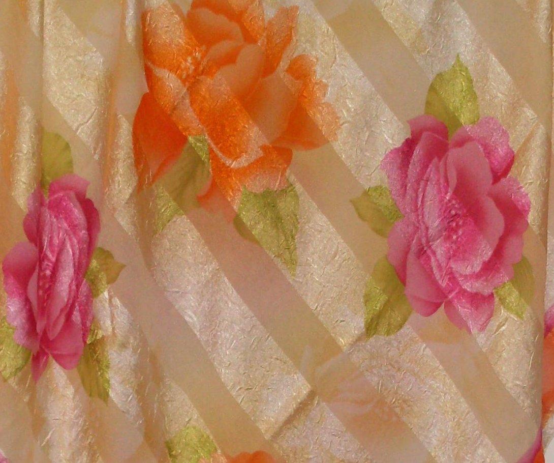 Eripek Turkish Floral Scarf Orange Yellow Pink Silk