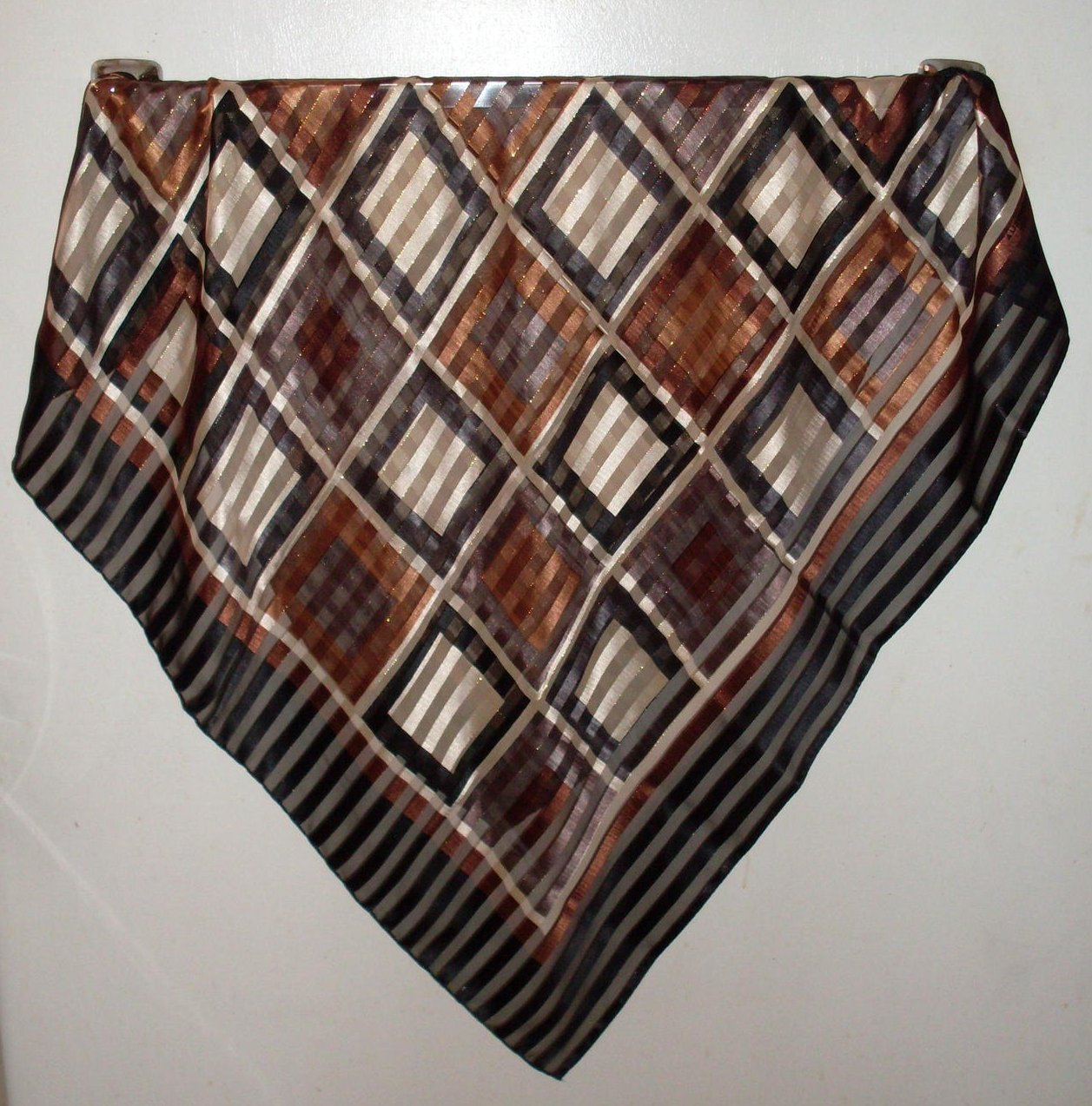 Geometric Blocks and Stripes Scarf Black Brown White 36 X 34