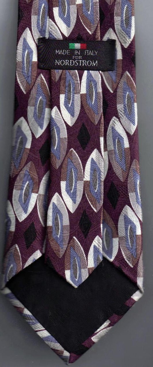 Image 1 of Nordstrom Mens Silk Tie Necktie Purple Blue White Black
