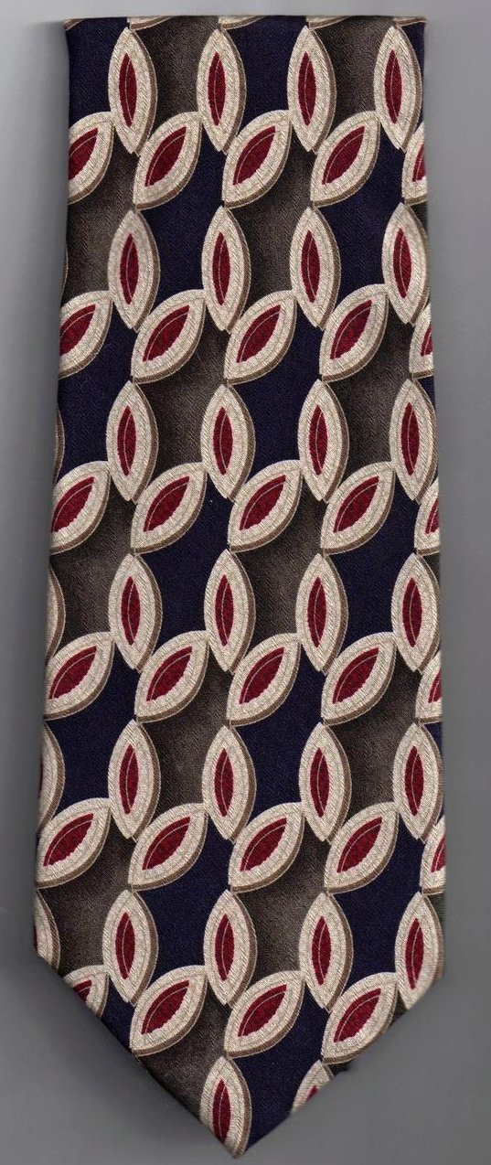 Image 1 of Nordstrom XMI Mens Silk Tie Necktie Blue Red Olive Print
