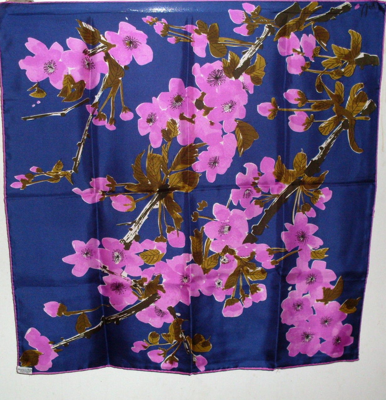 Image 0 of Vera Floral Print Silk Scarf Purple Pink Olive 25 x 25